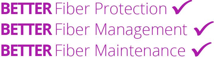 Image which reads Better Fiber Protection - Better Fiber Management - Better Fiber Maintenance