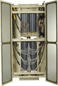 FieldSmart Fiber Crossover Distribution System (FxDS) Frame Kit. Front View With Doors Open