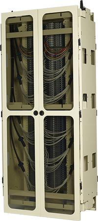 Side View of FieldSmart Fiber Crossover Distribution System (FxDS) Frame Kit With Doors Closed