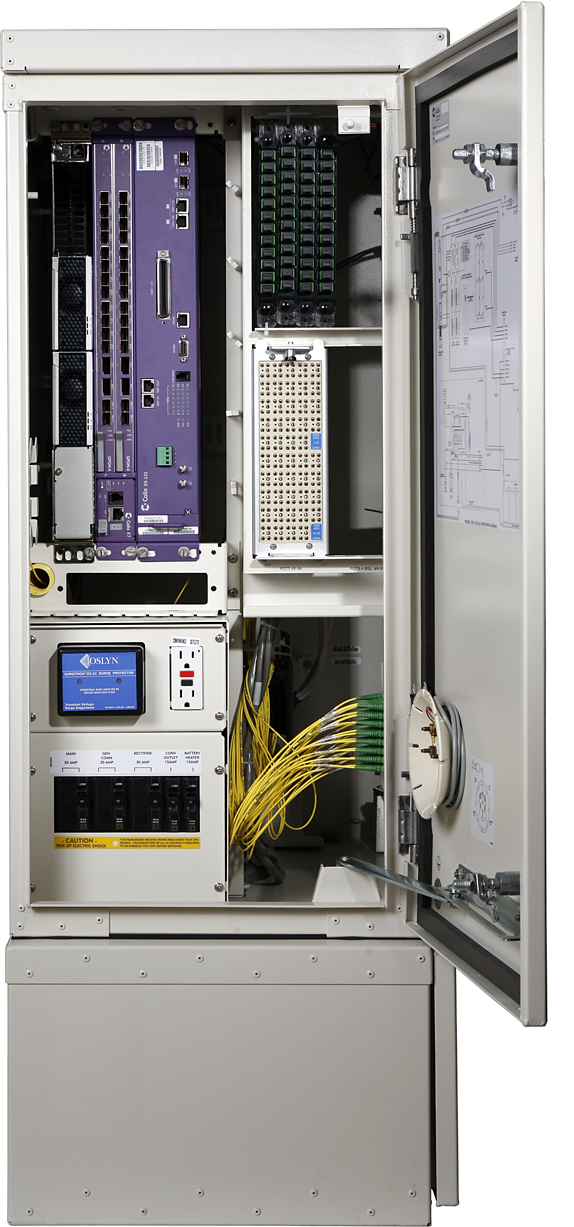 Front View of Clearfield ODC-100 Fiber Cabinet With Door Open