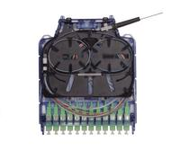 Cover removed to show the configurability of the Clearview Blue cassette for your fiber optic network needs.