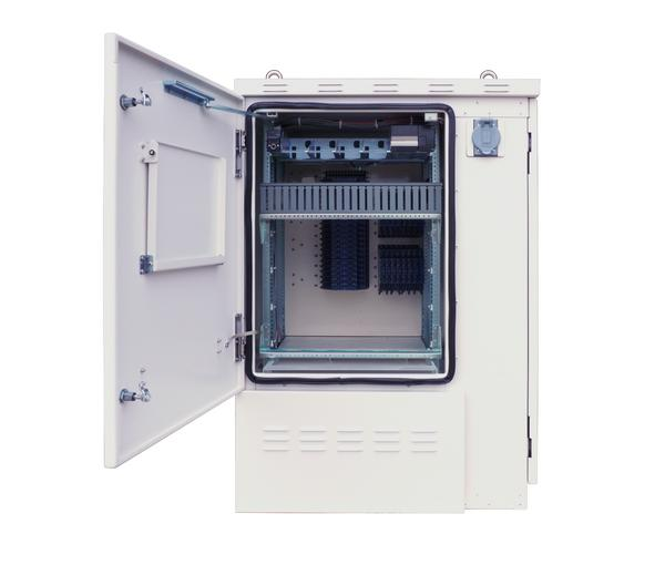 Front View of FieldSmart Fiber Active Cabinet (FAC) 3200 With Door Open