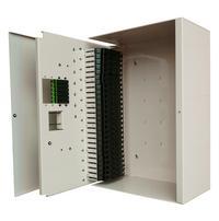 Angled shot image of FieldSmart Fiber Delivery Point (FDP) Indoor 288-Port Wall Box with door open
