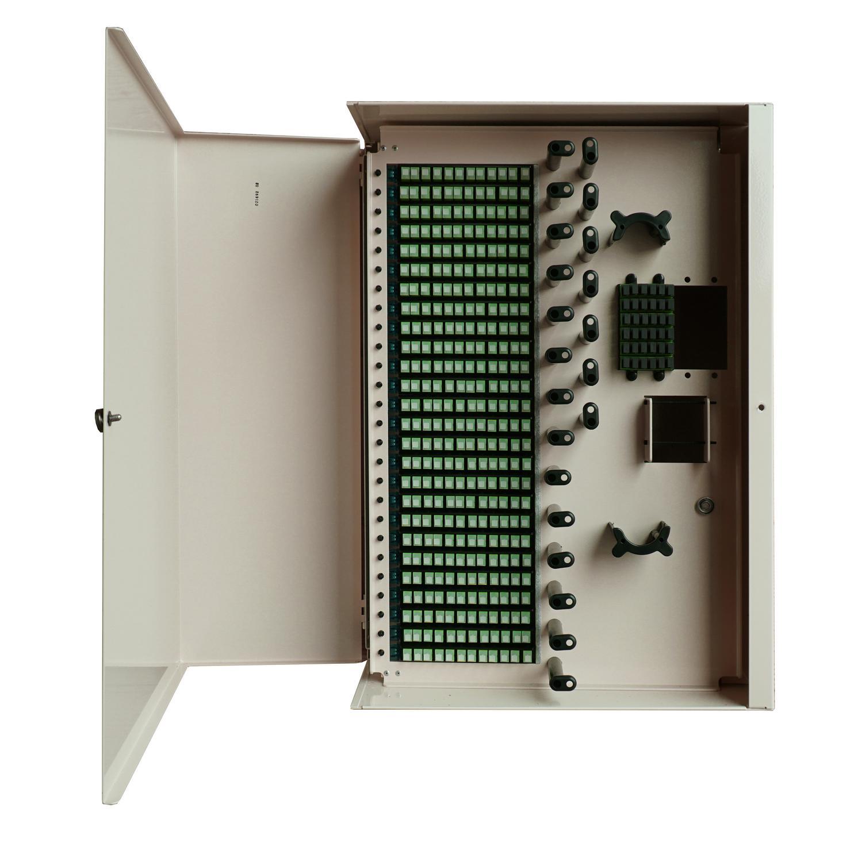 Front shot image of FieldSmart Fiber Delivery Point (FDP) Indoor 288-Port Wall Box with door open