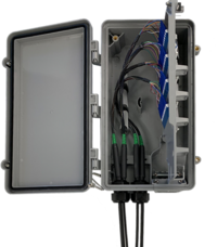 StreetSmart Fiber Hand-Off Box With Hinged Plate Open